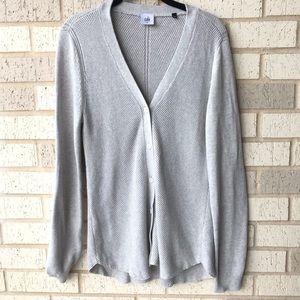 Cabi Gray Shirttail Button Up Cardigan
